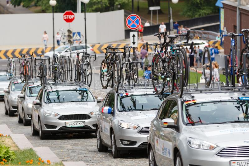 MINSK, BELARUS - 22 June 2019: 2nd European Games Women`s cycle road race. Lot of support units are climbing up.  royalty free stock photo