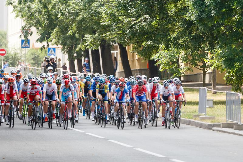 MINSK, BELARUS - 22 June 2019: 2nd European Games Women`s cycle road race. Many cyclists started and chase.  royalty free stock photo