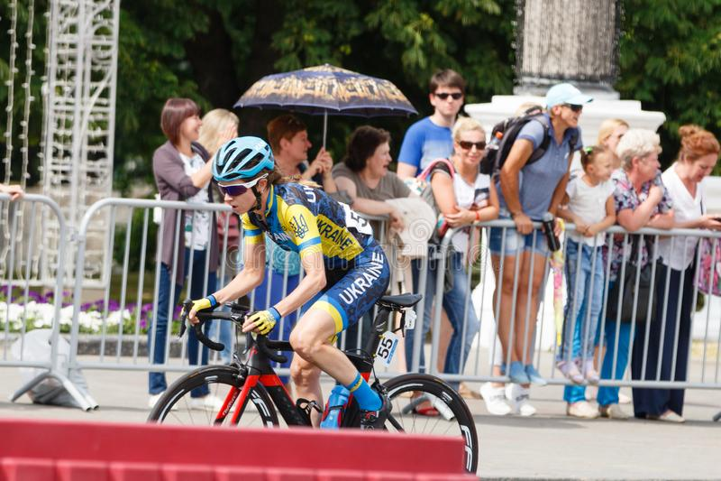 MINSK, BELARUS - 22 June 2019: 2nd European Games Women`s cycle road race.  royalty free stock photography