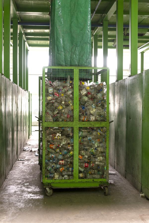 Minsk, Belarus -June 6, 2019 Waste processing plant. Technological process for acceptance, storage, sorting and further processing stock images