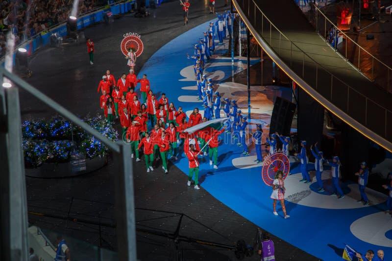 Minsk Belarus-21 juni, 2019: Landslaget av Bulgarien på öppningscermonin av de andra europeiska lekarna in arkivbild