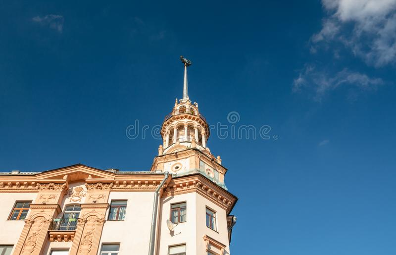 Minsk, Belarus. Kommunisticheskaya Street, famous historical building, close up, details. Soviet era architecture, famous building  built in 1956, details stock photos