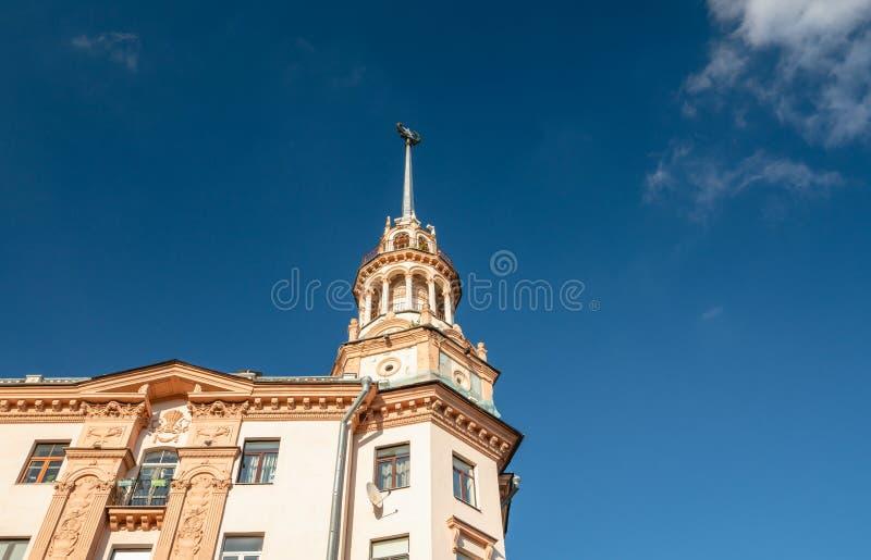 Minsk, Belarus. Kommunisticheskaya Street, famous historical building, close up, details stock photos
