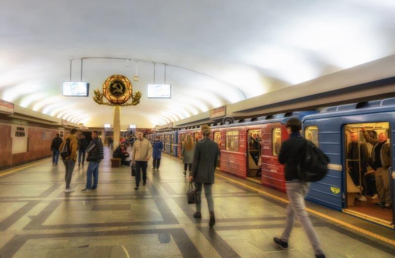 Minsk, Belarus. Lenin Square Metro Station Interior stock photo