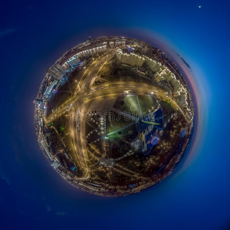 Minsk, Belarus. Little planet panorama. Drone aerial photo. The inscription on the building: `Minsk - hero city stock images