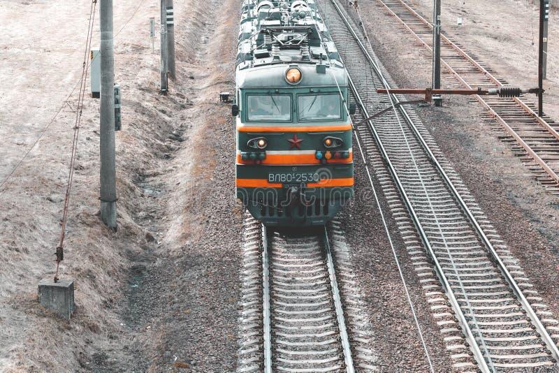 minsk belarus 19. März 2019 Güterzug Ansicht von oben lizenzfreie stockfotos