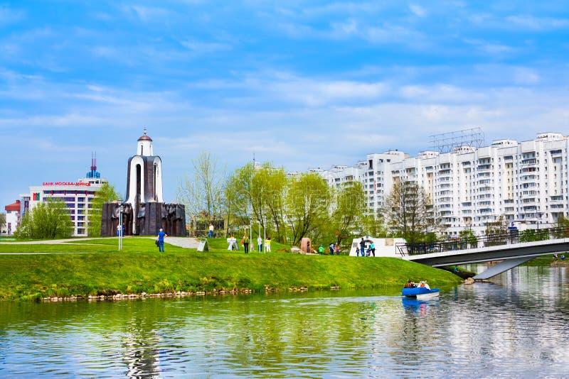 Minsk, Belarus - 7 mai 2017 : Monument aux soldats des Afghans sur l'île des larmes à Minsk sur la rivière Svisloch photographie stock libre de droits