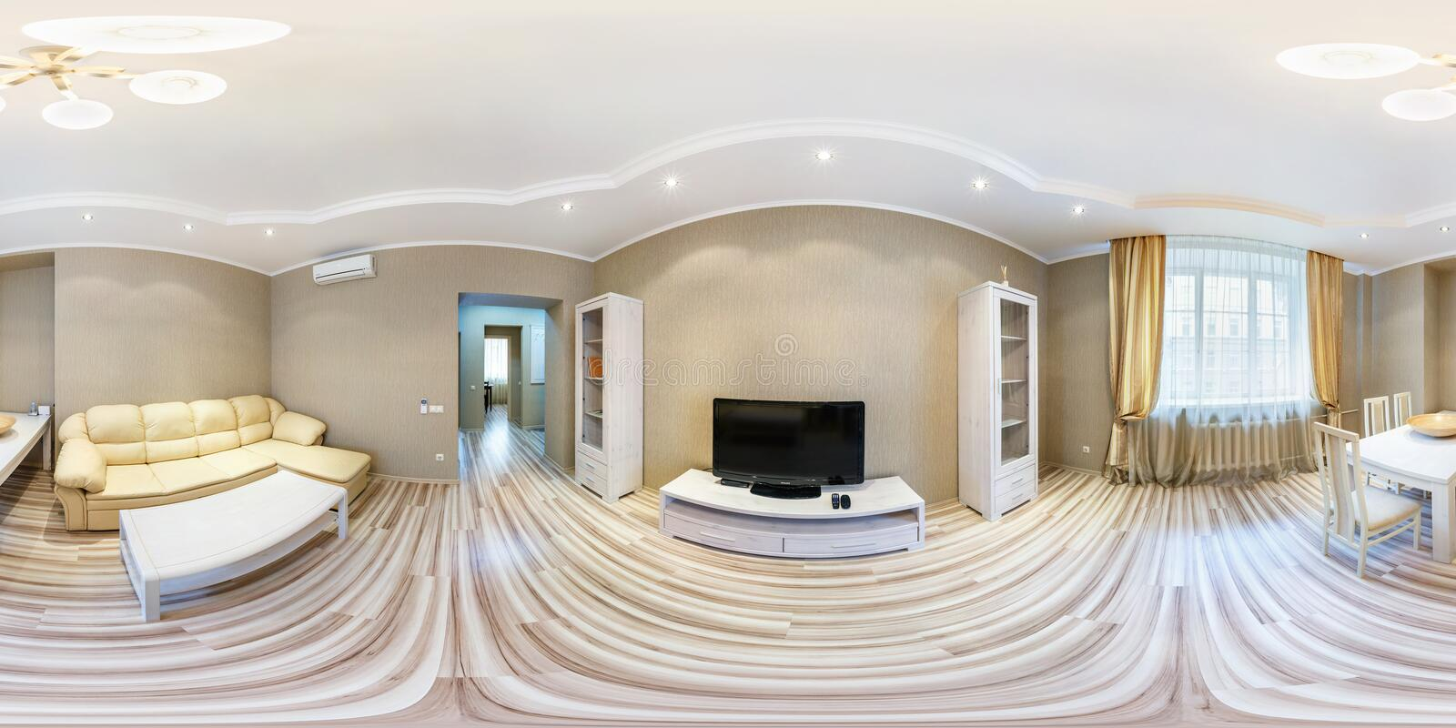 MINSK, BELARUS - MARCH 21, 2012: full 360 degree seamless panorama in equirectangular spherical equidistant projection. Panorama. In interior of guestroom hall stock images