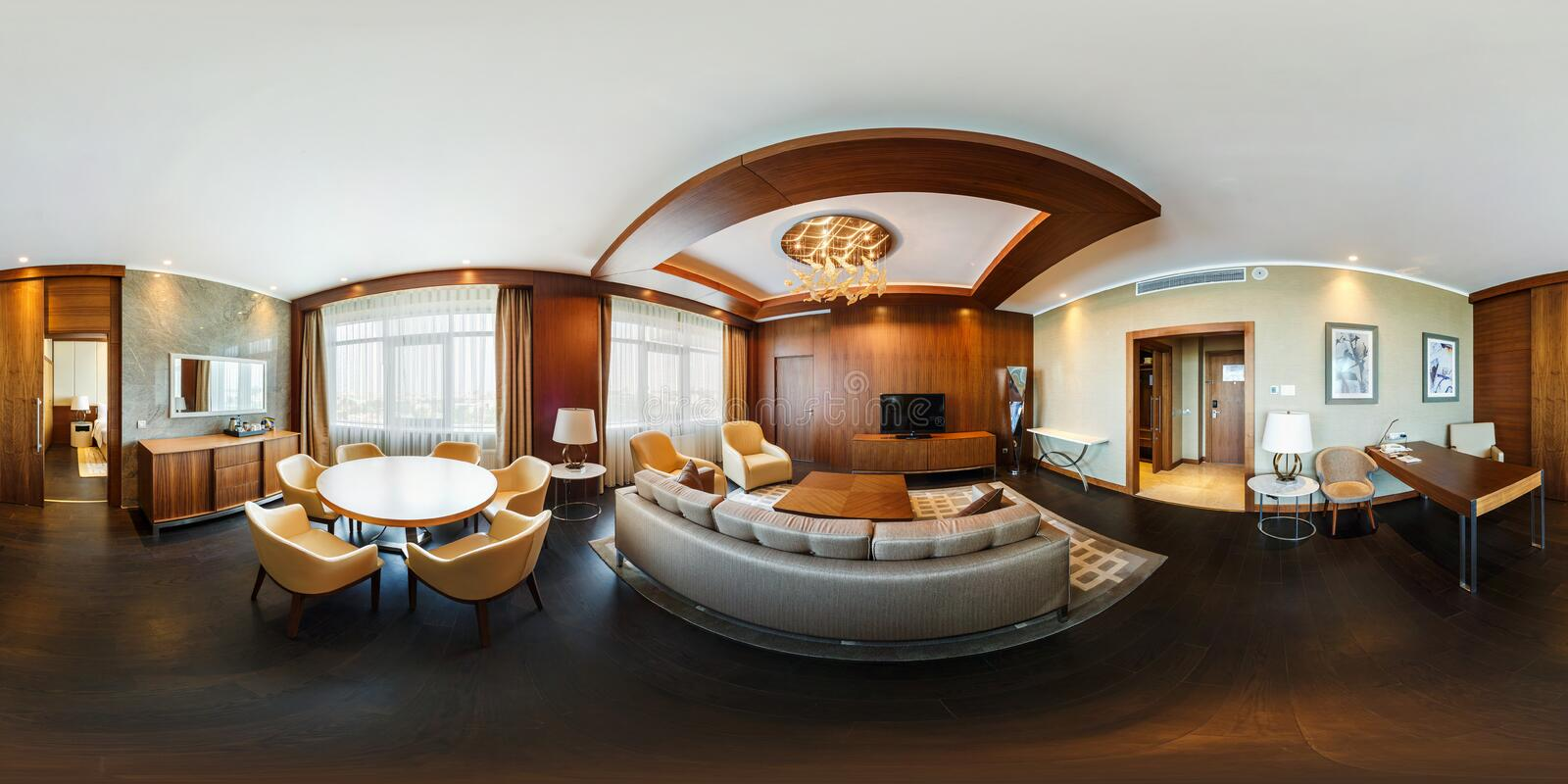 MINSK, BELARUS - MARCH, 2017: Full spherical 360 degrees angle view seamless panorama interior vip guest room in loft apartment of royalty free stock images