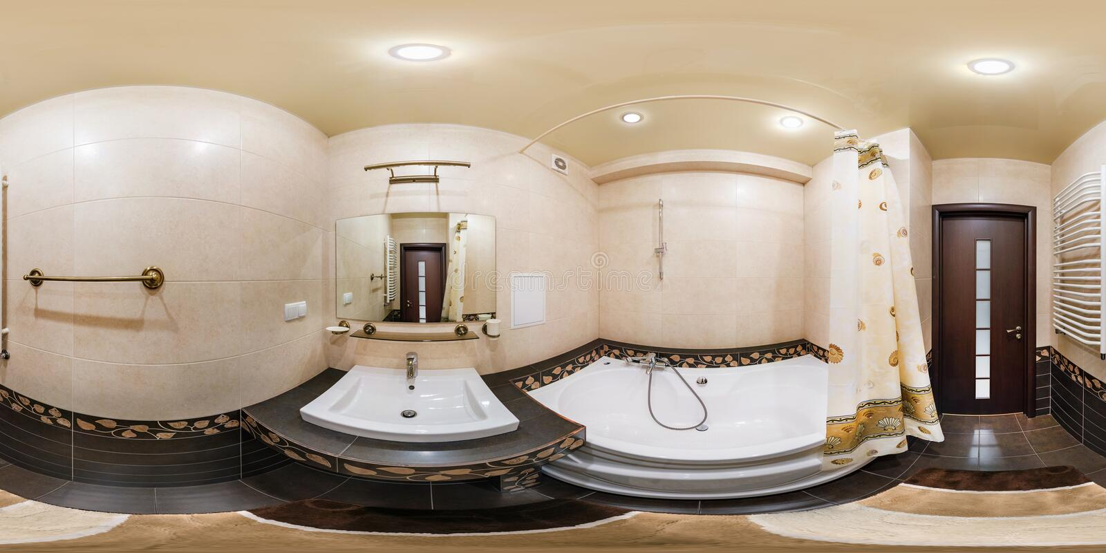 MINSK, BELARUS - MARCH 2, 2013: Full spherical 360 degrees seamless panorama in equirectangular equidistant projection, panorama. In interior bathroom restroom stock photo