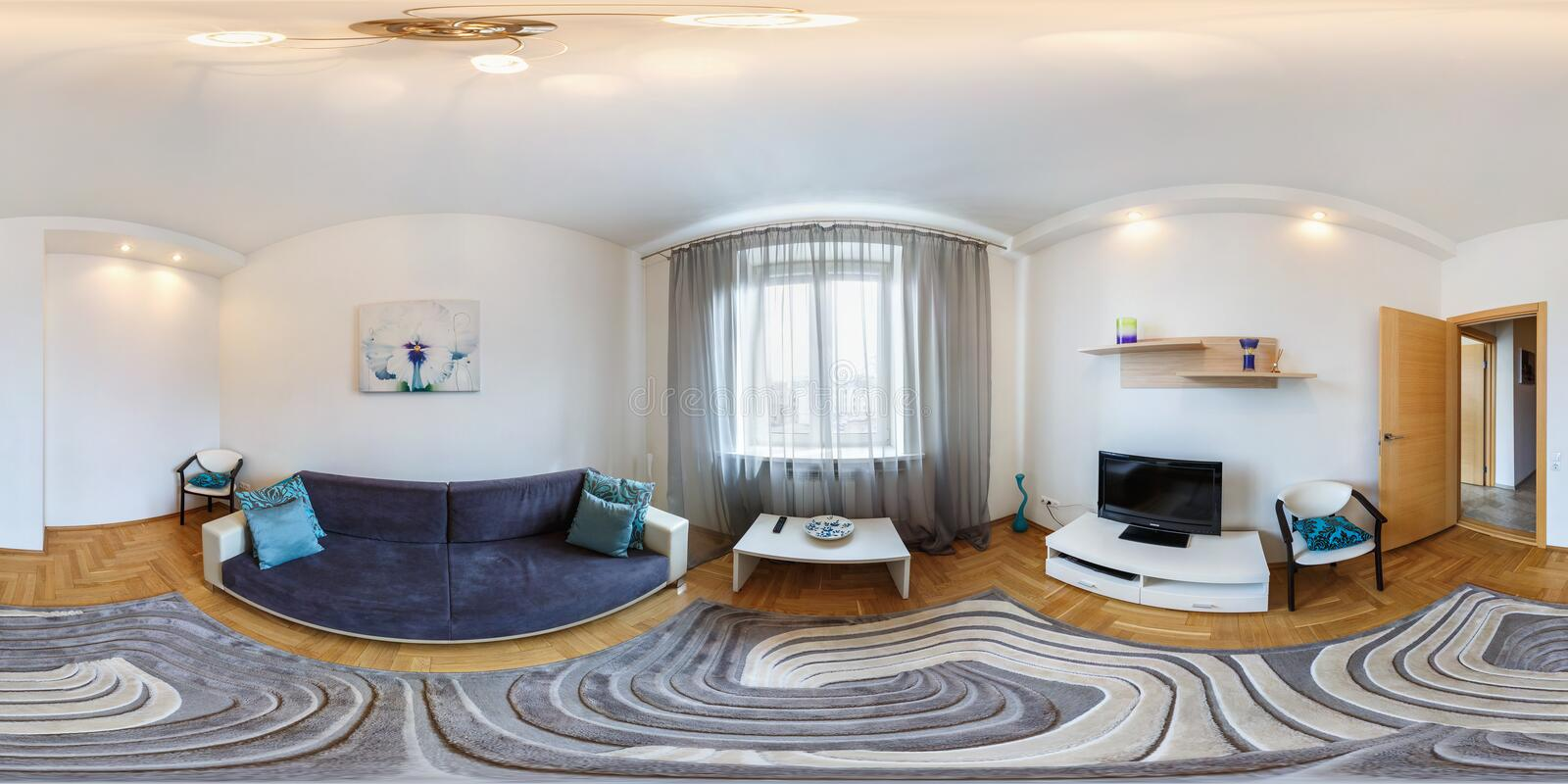 MINSK, BELARUS - MARCH 2, 2013: Full spherical 360 degrees seamless panorama in equirectangular equidistant projection, panorama. In interior guestroom hall in stock image