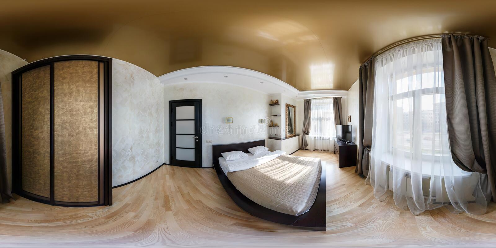 MINSK, BELARUS - MARCH 25, 2014: Full spherical 360 by 180 degrees seamless panorama in equirectangular equidistant projection,. Panorama in interior bedroom in royalty free stock photo