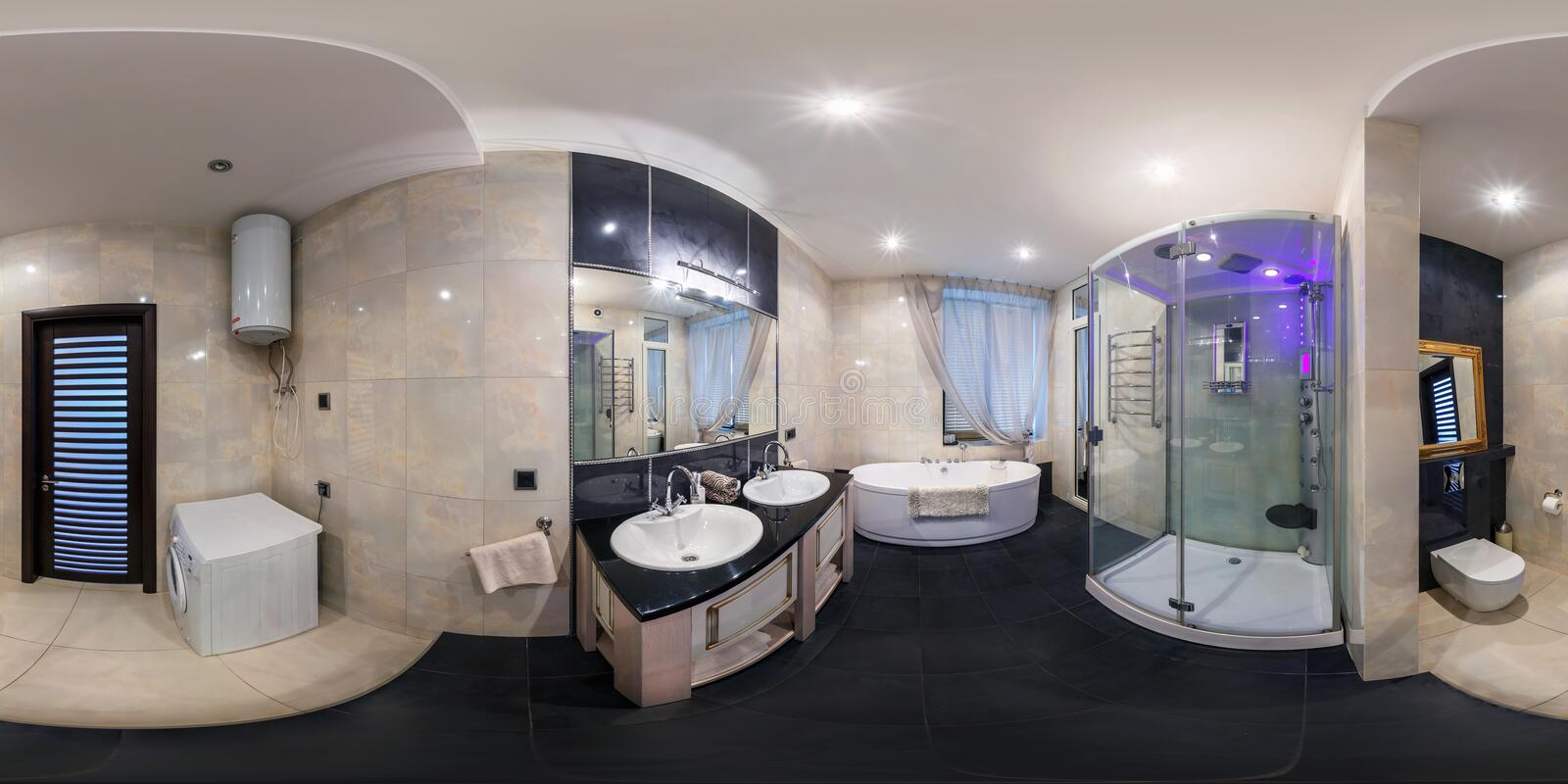MINSK, BELARUS - MARCH 20, 2014: Full spherical 360 degrees seamless panorama in equirectangular equidistant projection, panorama. In interior bathroom in royalty free stock photos