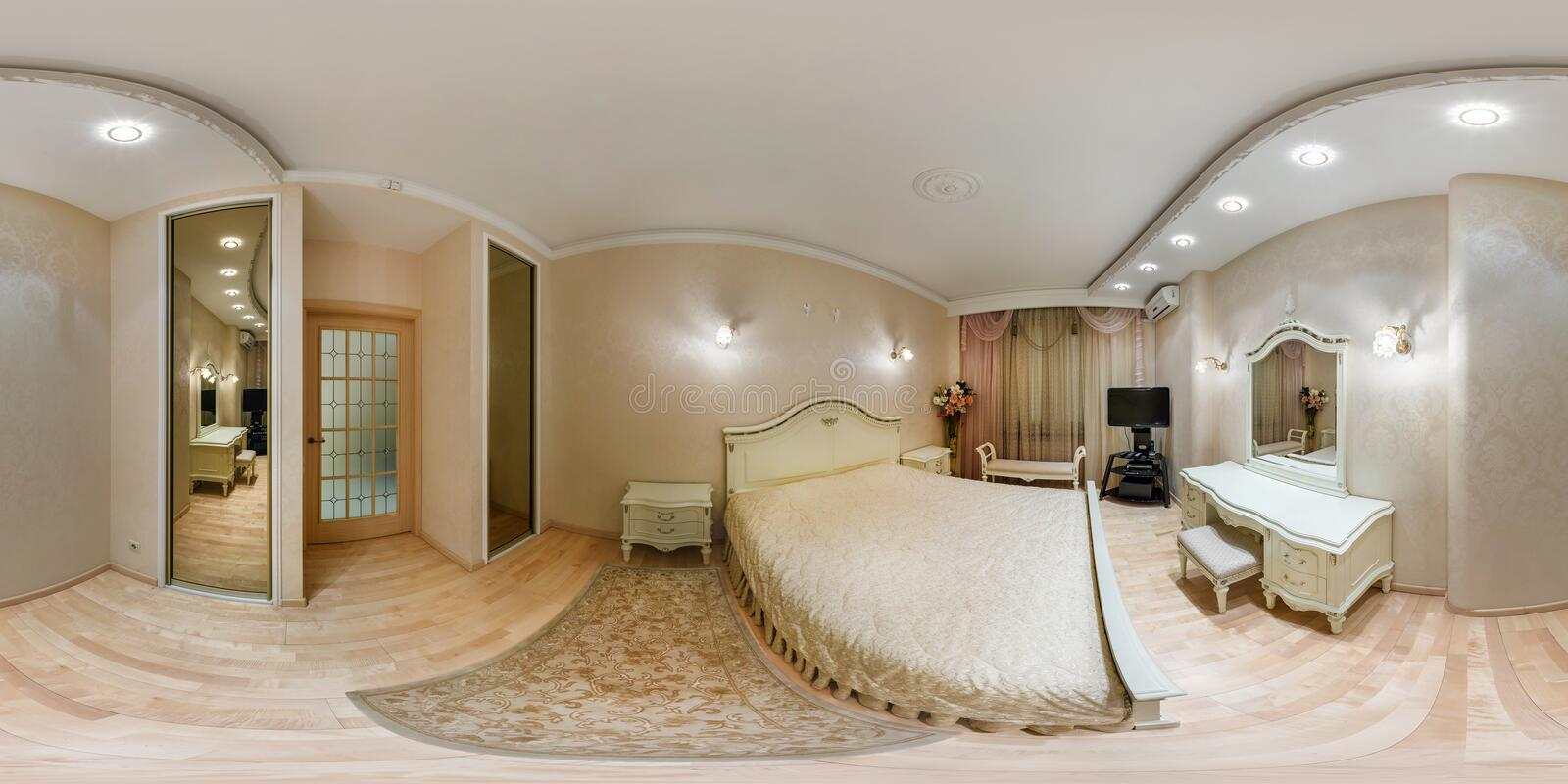 MINSK, BELARUS - MARCH 20, 2014: Full spherical 360 degrees seamless panorama in equirectangular equidistant projection, panorama. In interior bedroom in modern stock photo