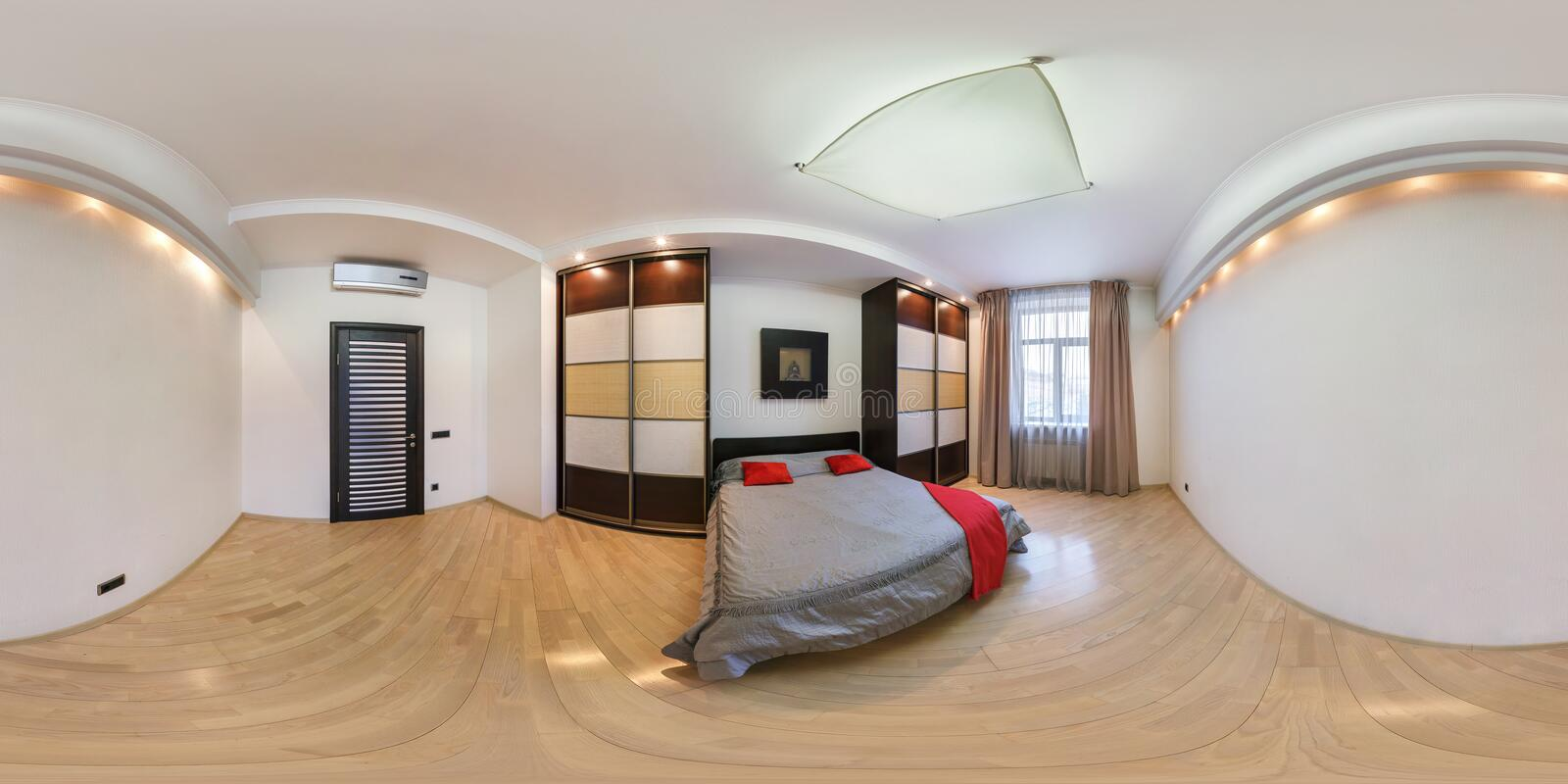MINSK, BELARUS - MARCH 21, 2014: Full spherical 360 degrees seamless panorama in equirectangular equidistant projection, panorama. In interior bedroom in modern stock images