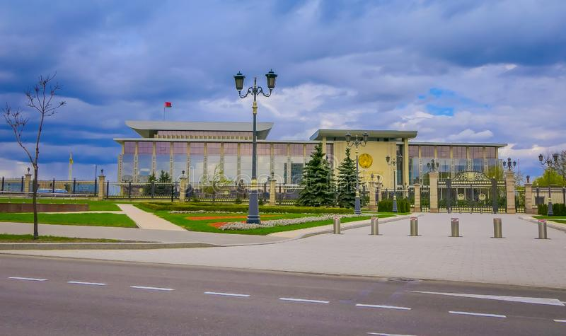 MINSK, BELARUS - MAY 01, 2018: Blurred view of the Palace of the Republic is a Belarusian cultural and business center. Located on the October Square of Minsk royalty free stock images