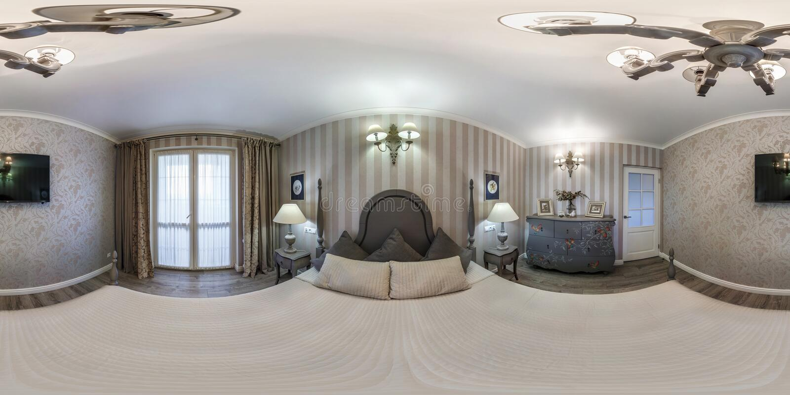 MINSK, BELARUS - MAY, 2019: Full spherical seamless hdri panorama 360 degrees angle view inside interior of master bedroom of stock image