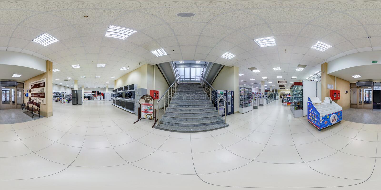MINSK, BELARUS - MAY 2018: Full spherical seamless panorama 360 degrees in interior of shop with stairs in elite textiles royalty free stock photography