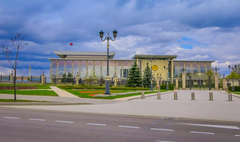 MINSK, BELARUS - MAY 01, 2018: The Palace of the Republic is a Belarusian cultural and business center located on the. October Square of Minsk, Belarus royalty free stock photos