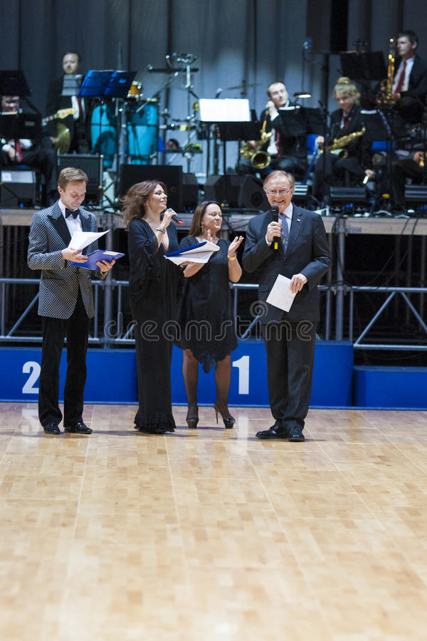 MINSK-BELARUS, MAY, 18: the President of WDSF dance sport federation Carlos Freitag makes a speach prior to World Open Minsk. 2013 championship opening in Misnk royalty free stock photos