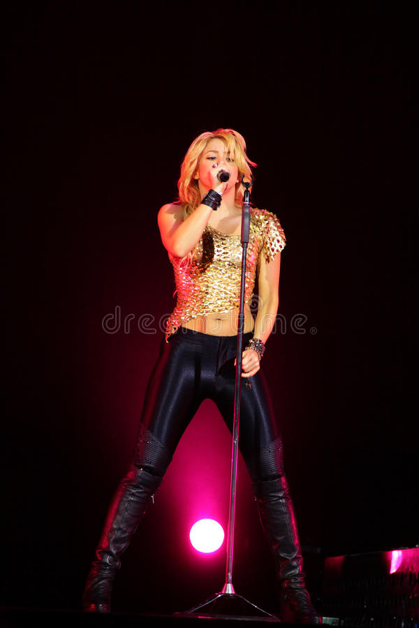 MINSK, BELARUS - MAY 20: Shakira performs at Minsk-Arena on May 20, 2010 in Minsk, Belarus royalty free stock photo