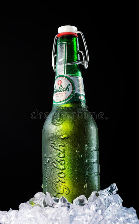 Bottle of beer GROLSH. The Grolsch brewery was founded in 1615 i royalty free stock photo