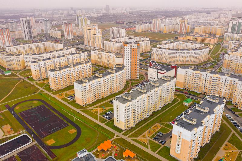 New high rise residential area equipped with parking space and playground, Minsk aerial cityscape royalty free stock photos