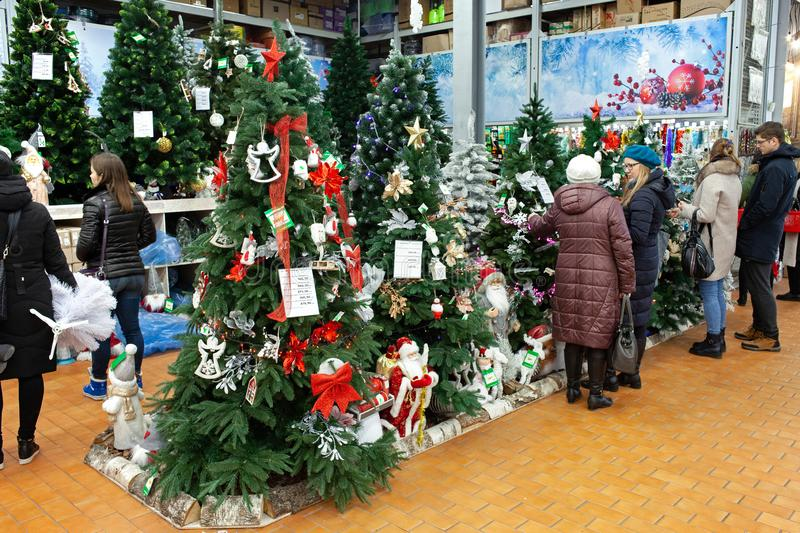 MINSK, BELARUS - November 23, 2019: People selecting Christmas tree. Shopping at the supermarket for Christmas. Holiday time. stock images