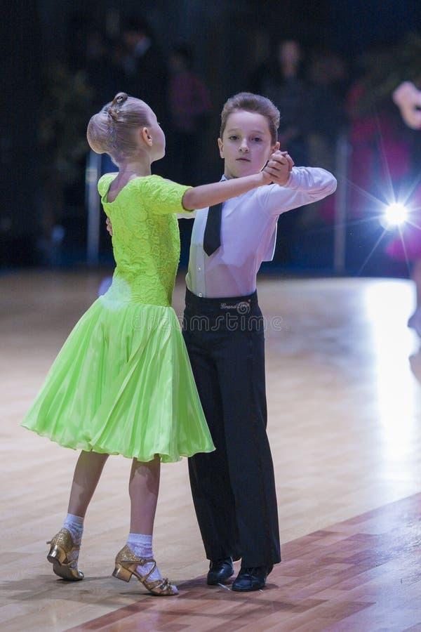 Free Minsk-Belarus, October 18, 2014: Unidentified Dance Couple Performs Juvenile-1 Standard European Program On IDSA World Open Champ Stock Photos - 46024593