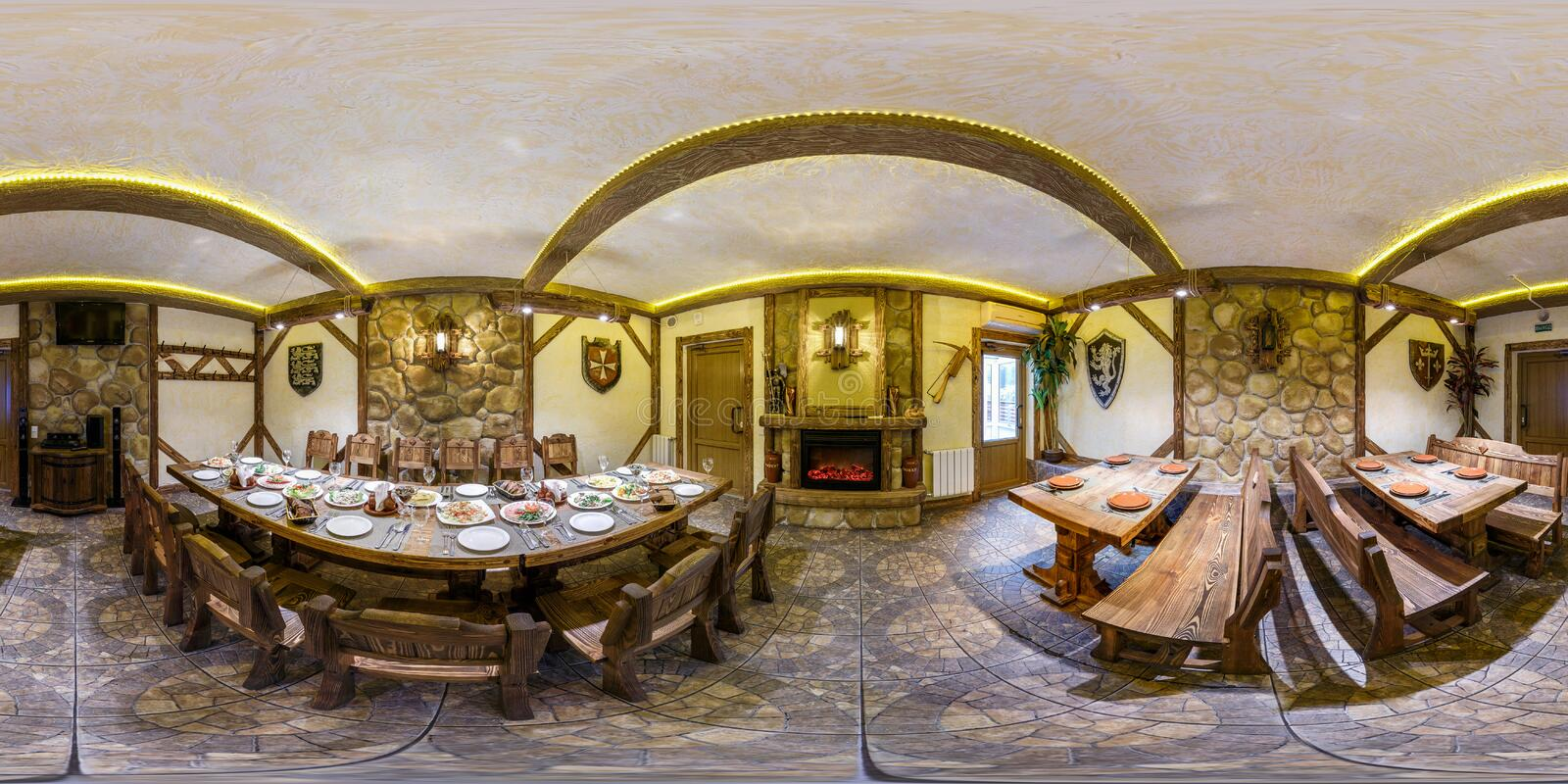 MINSK, BELARUS - OCTOBER 2, 2013: full 360 degree seamless panorama in equirectangular spherical equidistant projection. Panorama. In interior of vintage stock photos