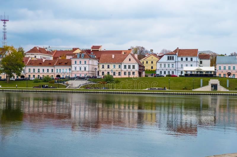 View of Trinity hill and Svislach river in Minsk city, Belarus Republic royalty free stock image
