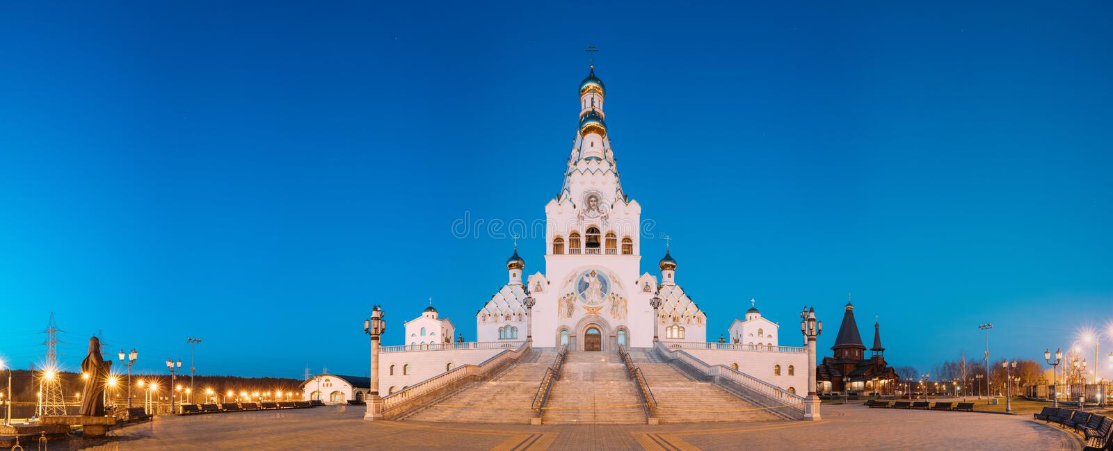 Minsk, Belarus. Night View Of All Saints Church. Minsk Memorial. Minsk, Belarus. Pamoramic Night View Of All Saints Church. Minsk Memorial Church In Memory Of stock images