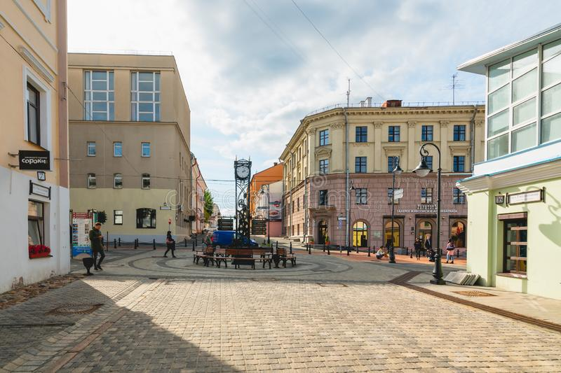 Minsk, Belarus.  Revolution Street, an old historic part of downtown royalty free stock photo