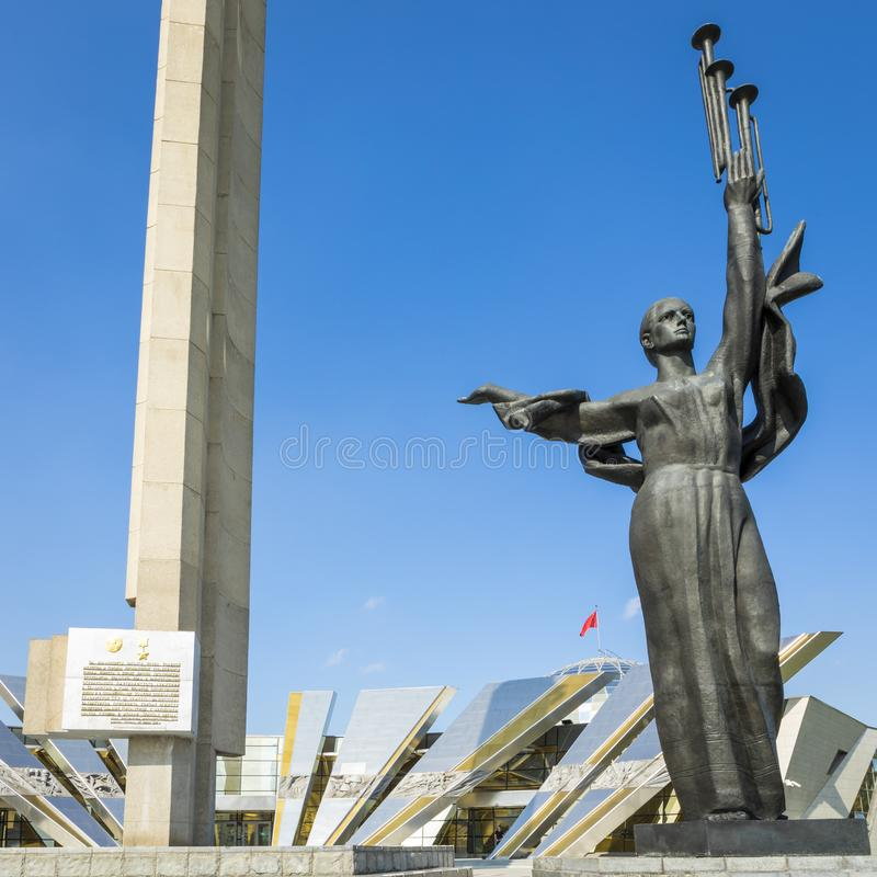 MINSK, BELARUS - SEPTEMBER 11, 2018: Monument Near Building Belorussian Museum Of The Great Patriotic War In Minsk, Belarus stock photo