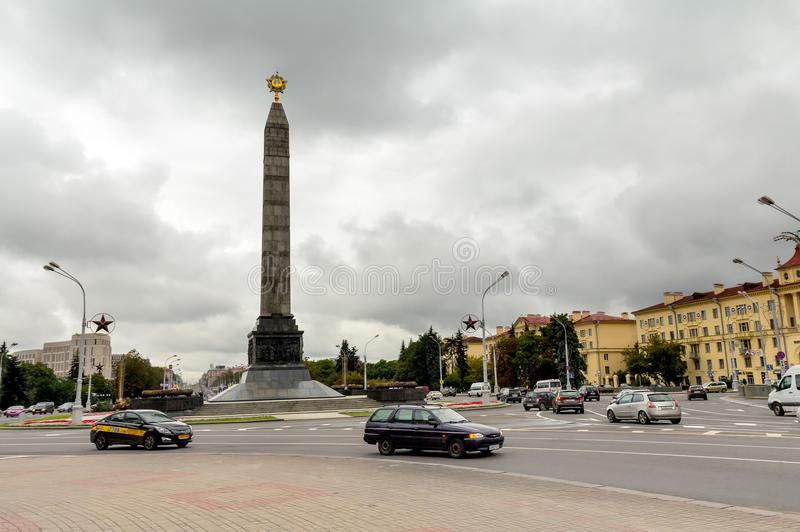 Victory square in Minsk, Belarus. 07.09.2017, Minsk, Belarus. Victory square in Minsk, Belarus. Monument in honor of the victory in World War II at Victory stock photos