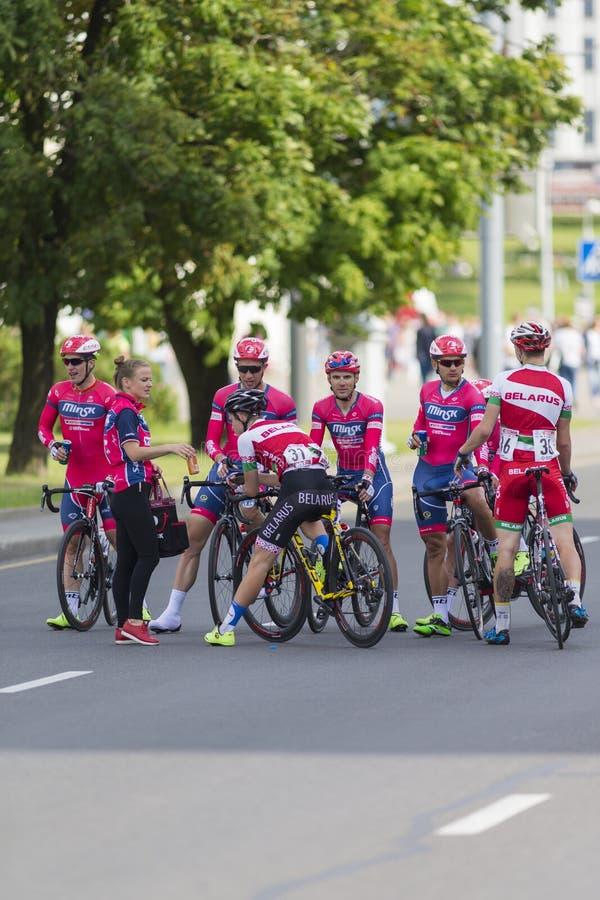 Minsk, Biélorussie 8 juillet 2017 : Route professionnelle faisant un cycle Team Cele photographie stock libre de droits
