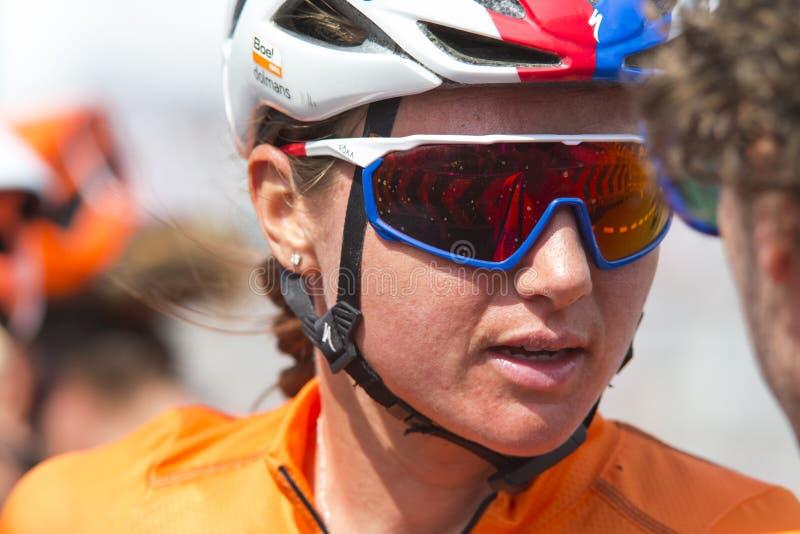 Minsk, Biélorussie 22 juin 2019 Épreuve sur route de Blaak Chantal During Women professionnel de cycliste aux jeux II européens,  photographie stock libre de droits