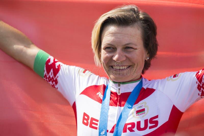 Minsk, Biélorussie 22 juin 2019 Cycliste professionnel Tatsiana Sharakova After Awarding Ceremony sur les jeux II européens, le 2 photos libres de droits