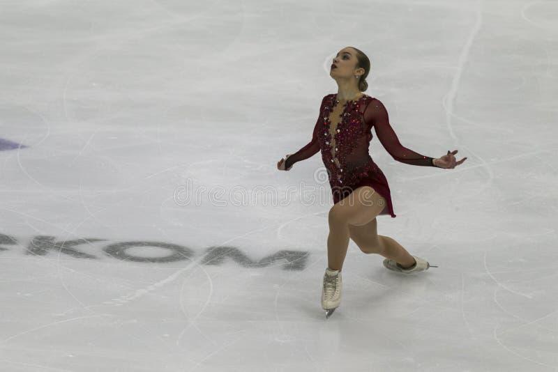 Minsk, Biélorussie - 19 octobre 2019 : Figure Aleksandra Golovkina, de Lituanie, exécute un programme de patinage féminin gratuit photographie stock