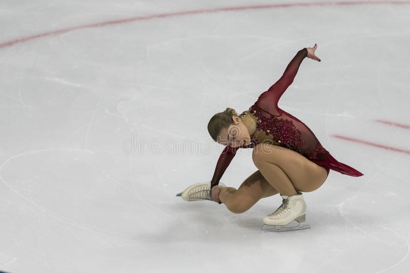 Minsk, Biélorussie - 19 octobre 2019 : Figure Aleksandra Golovkina, de Lituanie, exécute un programme de patinage féminin gratuit photo libre de droits