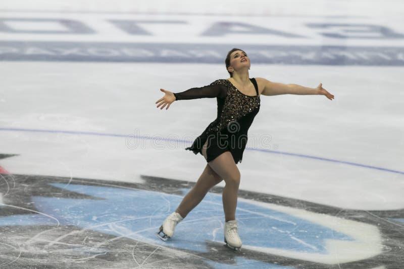 Minsk, Biélorussie - 19 octobre 2019 : Figure Skater Josefin Taljegard de Suède réalise un programme féminin de patinage gratuit  image stock