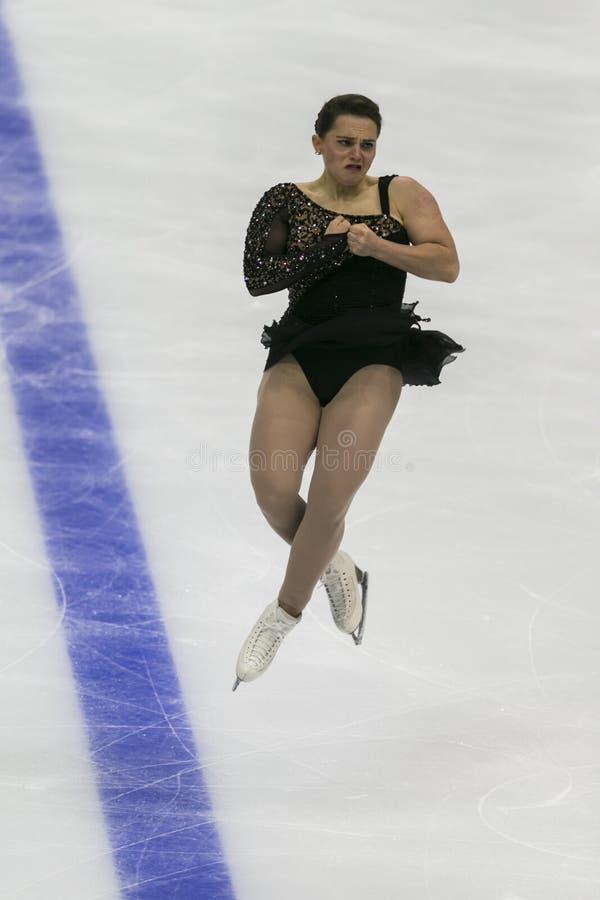 Minsk, Biélorussie - 19 octobre 2019 : Figure Skater Josefin Taljegard de Suède réalise un programme féminin de patinage gratuit  images libres de droits