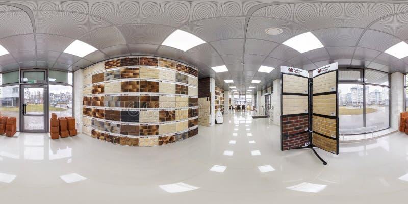 MINSK BIAŁORUŚ, KWIECIEŃ, -, 2017: pełna bezszwowa panorama 360 stopni kąta widoku w wewnętrznego elity luksusowym sklepie cerami zdjęcie royalty free