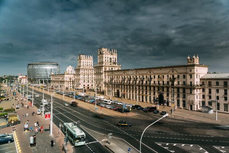 Minsk, Białoruś Dwa budynku Górują - bramy Minsk, stacja kwadrat zdjęcie royalty free