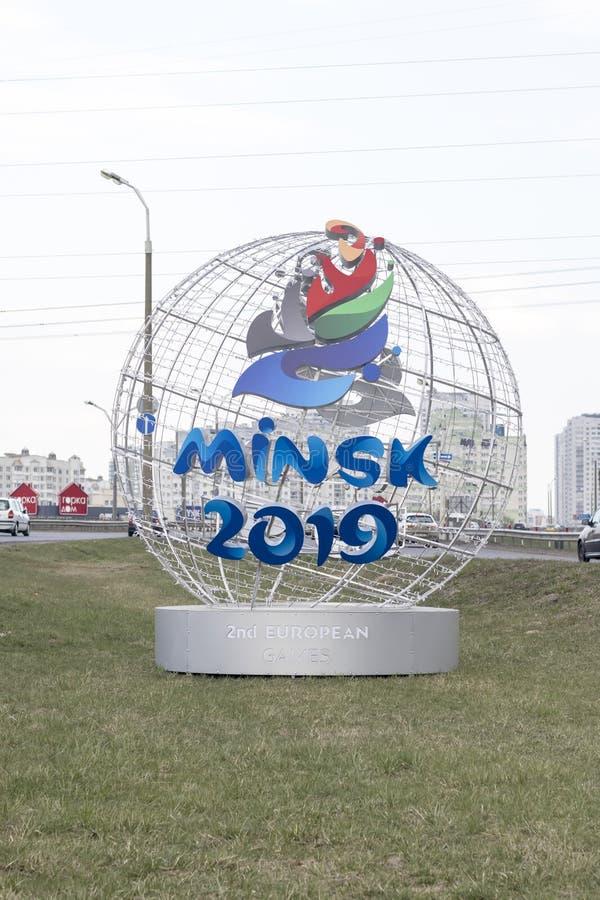 Minsk Białoruś, Kwiecień 21 -, 2019: maskotka 2nd Europejskie gry na ulicie Minsk zdjęcia stock