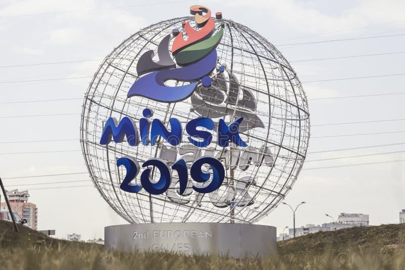 Minsk Białoruś, Kwiecień 21 -, 2019: maskotka 2nd Europejskie gry na ulicie Minsk obrazy royalty free