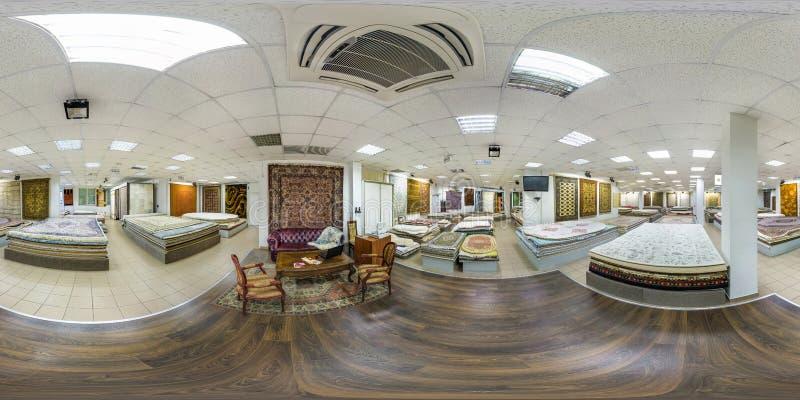MINSK BIAŁORUŚ, MAJ, -, 2017: Pełna bezszwowa panorama 360 stopni kąta widoku wśrodku wnętrza sklep maszyna dział handmade fotografia royalty free