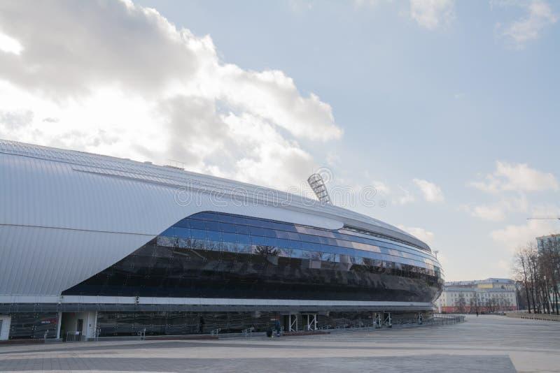 MINSK BIAŁORUŚ, MARZEC, -, 19, 2019: Nowożytna część dynama stadium, Znacząco futbolowa łatwość miasto Minsk, i zdjęcia stock