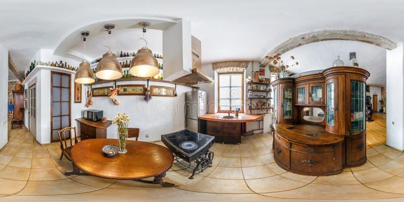 MINSK BIAŁORUŚ, STYCZEŃ, - 2019: pełna bezszwowa bańczasta hdri panorama 360 stopni kąta widoku w wewnętrznej kuchni w płaskich m obrazy royalty free