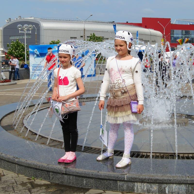 Minsk Bielorrússia: Campeonato mundial 2014 do hóquei em gelo fotografia de stock royalty free
